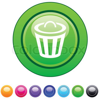 Dustbin glossy circle web buttons