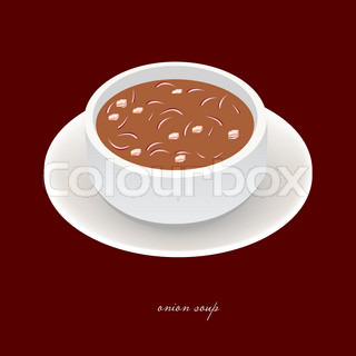 Onion soup with onion and bacon | Vector | Colourbox