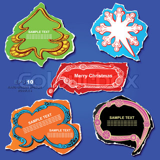 Christmas and New Year graphic speech bubbles and stickers design, using creative ornaments -Christmas tree, snowflake, cloud, banner and frame on the colored vintage paper