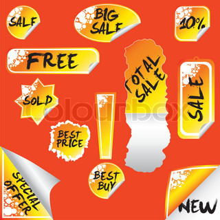 stickers: sale, total sale, big sale, new, special offer