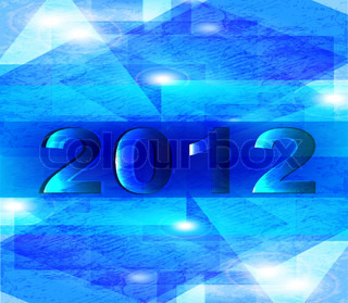 Happy new year 2012. abstract blue background
