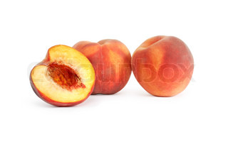 Sliced freshness peach fruits on white background Isolated with clipping path