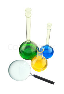 test tubes and magnifier isolated on white