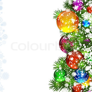 christmas background with snow covered christmas tree decorated with glass balloons - Snow Covered Christmas Trees