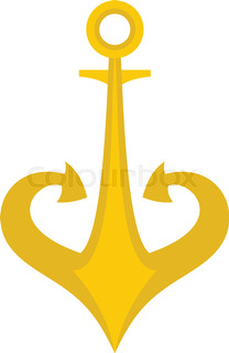 Gold Anchor Icon Isolated