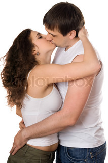 Nice young couple hugging and kissing