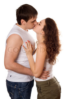 Attractive young couple hugging and kissing