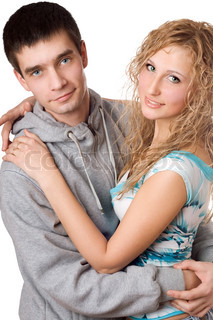 Portrait of young attractive hugging couple