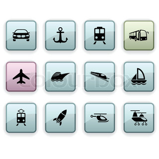 Transport set of square dim icons.