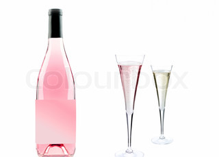 Pink champagne bottle and glass