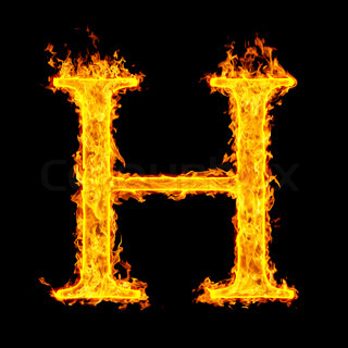 H Letter In Fire Burning and flame font...