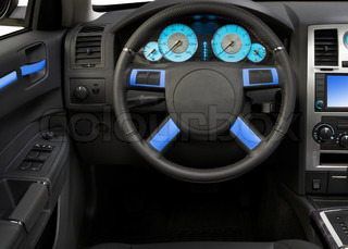 Modern car interior close up isolated on