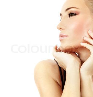 Stilfuld pige portræt med mode makeup , isoleret på hvid baggrund , spa og skønhedsbehandlinger koncept