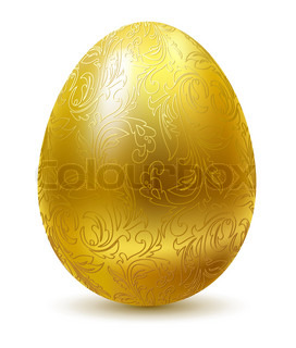 Gold egg with floral ornate isolated on white background