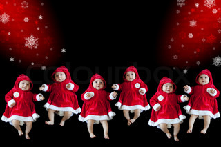 Christmas collage with funny babies and a place for your text