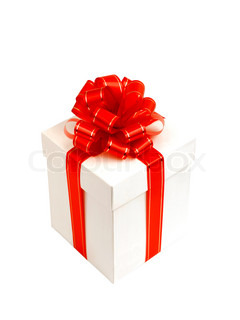 White gift box with red bow isolated on white background