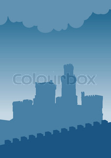 Blue silhouette of old castle