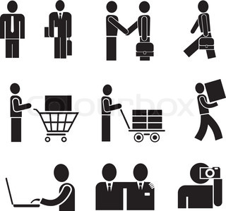 Bisiness people working in an office - set of isolated vector icons on white