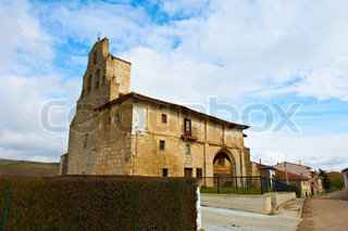 Medieval Gothic Church in the Small Spanish Town