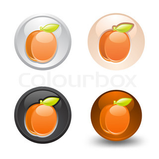 Apricot button, set, web 20 icons, design element