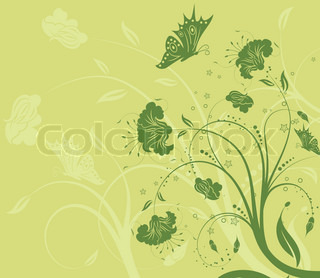 Abstract blomster baggrund med butterfly , element for design , vektor illustration