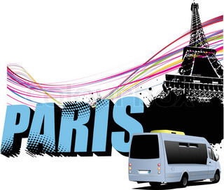 3D word Paris on the Eiffel tower grunge background with tourist minibus image Vector illustration