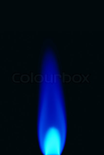 gas flame isolated on black backgound close up