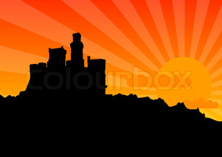 Black silhouette of the castle by sunrise