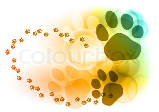 Foot mark on the color background