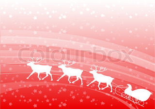 Red christmas background with white reindeer