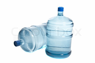 two big plastic bottle's for potable water isolated