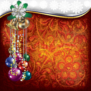Abstract Christmas background with red floral ornament