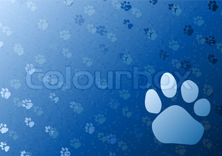 Vector blue background with foot trail