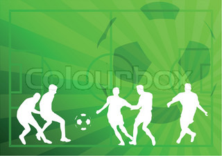 White silhouettes of football players on the green background