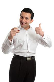 Happy man giving a thumbs up approval of wine White background