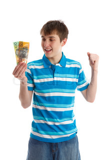 Teenage boy holding money, a 100 and 50 dollar banknote in his hand