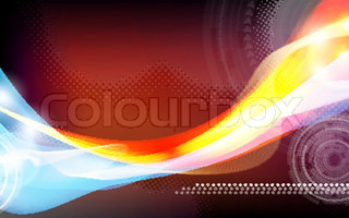 Abstract illustration with blue and red design, vector card