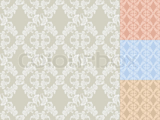 Seamless background flowers, floral pattern colored set
