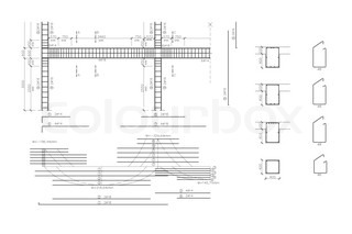 Construction drawing, concrete armature