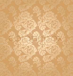 Seamless pattern, ornament floral, decorative background Gold