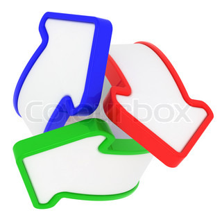 Three arrows in RGB swirl isolated on the white background