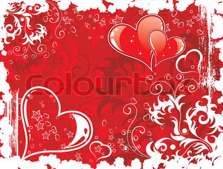 Valentines Day grunge background with Hearts and florals, element for design, vector illustration