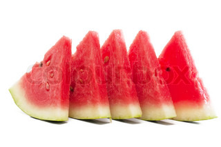 Five pieces of watermelon isolated over white