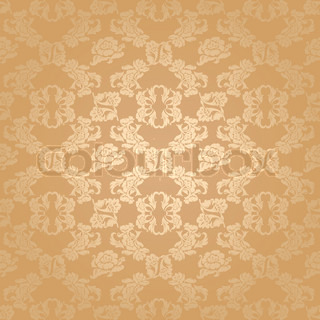 Seamless background flowers, floral pattern gold vector