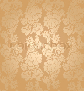 Seamless vector pattern, floral gold