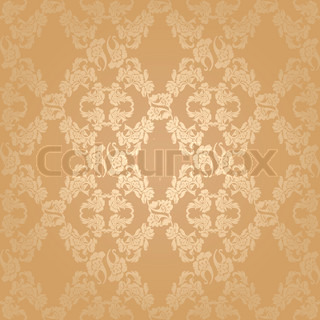 Vector seamless background flowers, floral pattern gold