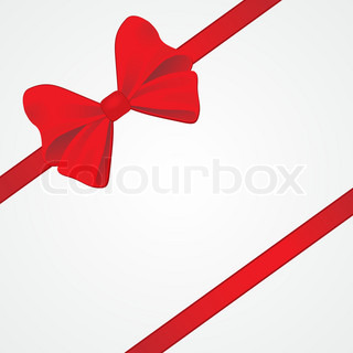 Big red bow for packaging Vector illustration