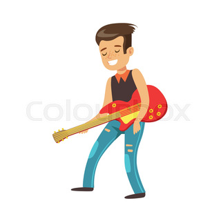 young smiling boy playing guitar and singing with microphone rh colourbox com While My Guitar Gently Weeps Prince While My Guitar Gently Weeps Album Cover