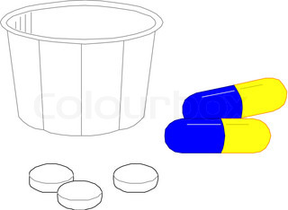 Vector of 'cartoon, medication, bottle'