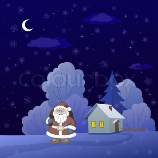 Christmas cartoon: Santa Claus on a snowy winter forest glade with house